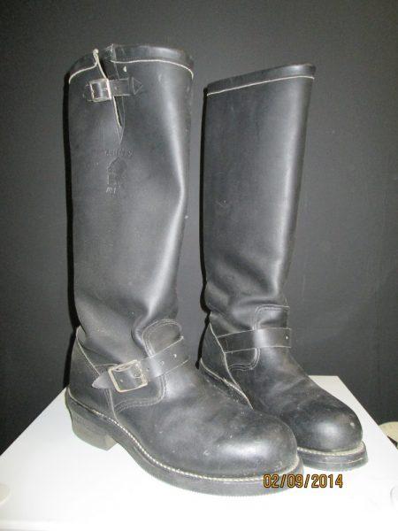 """Vintage Chippewa Men's 17"""" Black Engineer Steel Toe Trooper Boots"""